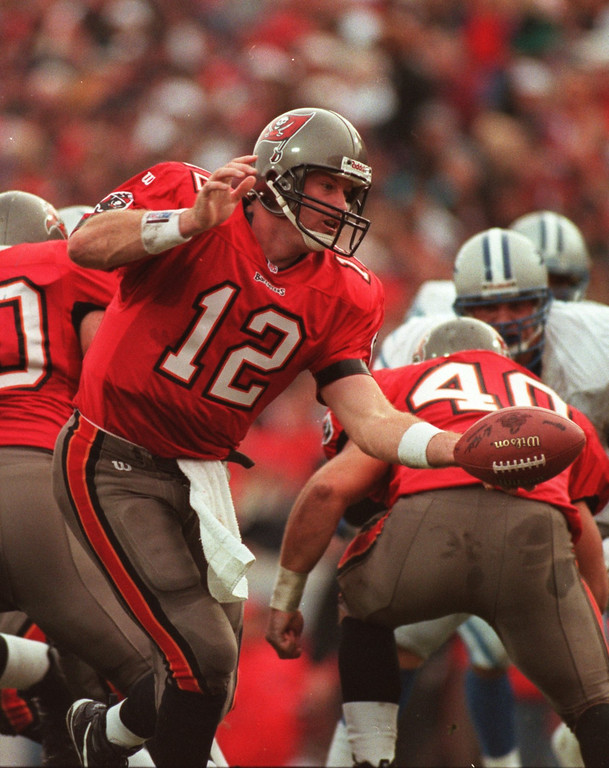 . Tampa Bay Buccaneers QB #12 Trent Dilfer, did the job in a first round playoff win over the Detroit Lions at Tampa  20-10.